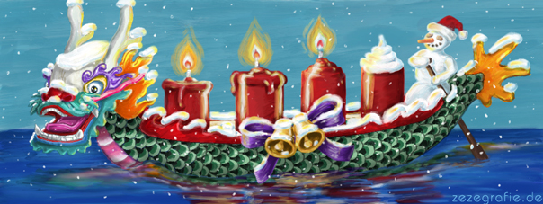 Illustration Drachenboot Advent Schneemann Weihnachten