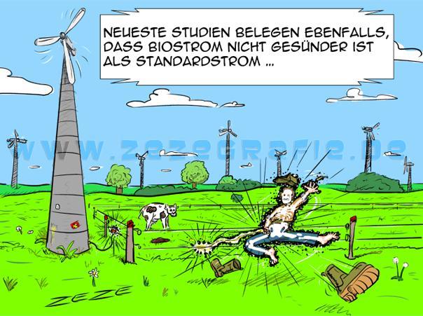 Cartoon Bio Oekostrom Windrad Pinkeln Elektrozaun Stromschlag
