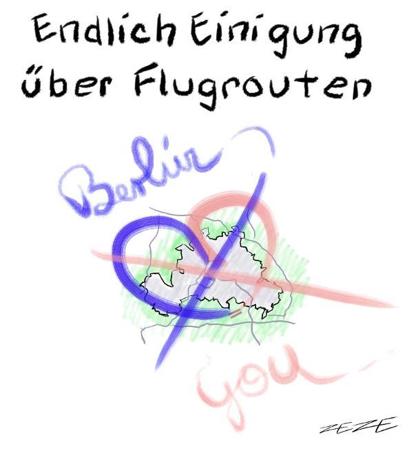karikatur flugroute berlin buerger protest humor not love