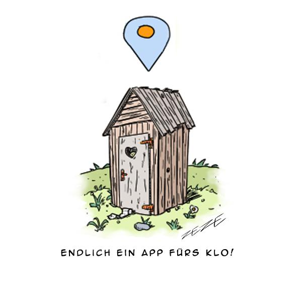 Cartoon App GPS Klo Toilette