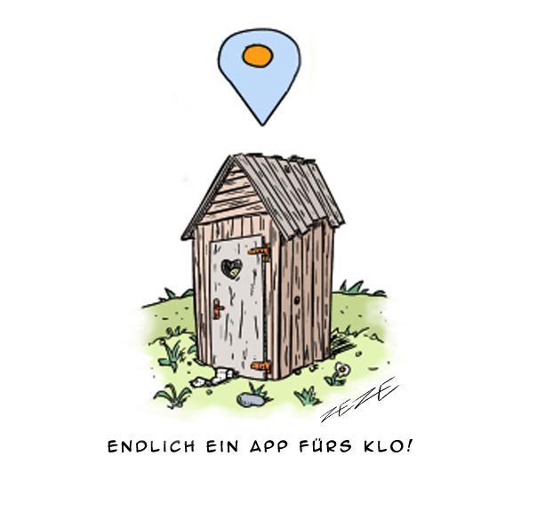 Cartoon App GPS Klo Toilette