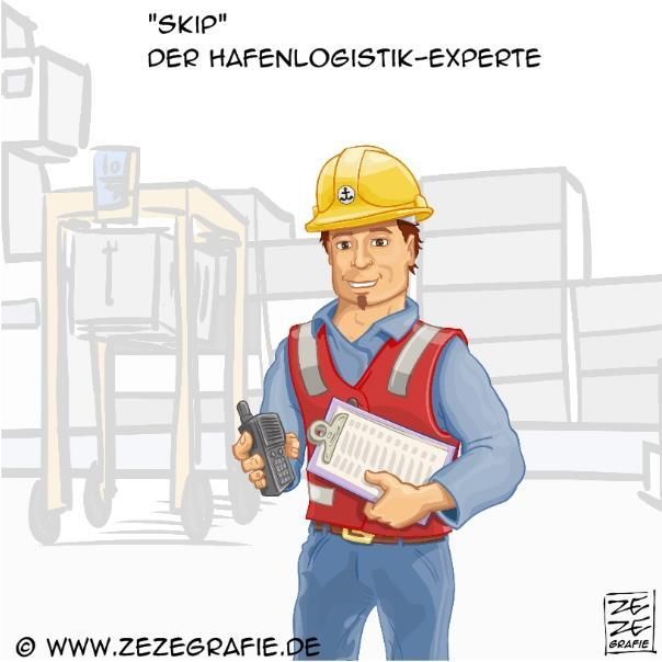 Marketing Charakter Hafen Logistik Vektor Illustration