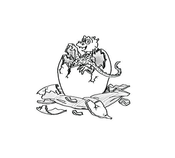 illustration gebursanzeige drachen