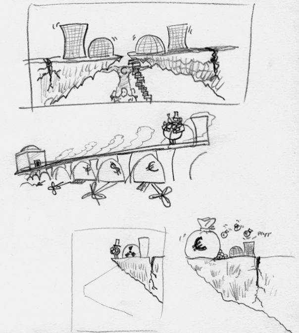 skizze-karikatur-atomkraft-technologie-gefahr