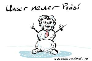 Karikatur Joachim Gauck taufrischer Bundespraesident tauwetter