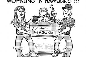 Flyer Illustration Comic Umzug